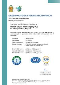 """""""Dilmah"""" šiltnamio efektą sukeliančių dujų patikros ataskaita"""